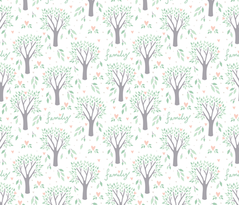 Heart of the Family Tree fabric by robyriker on Spoonflower - custom fabric
