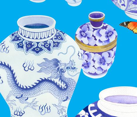 Blue_de_Chine_Dec03_Ciel_500x500mm fabric by gabbymalpas on Spoonflower - custom fabric