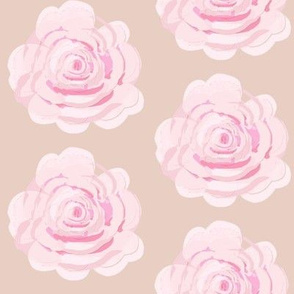 Shabby Chic watercolor pink roses on blush