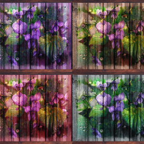 VIOLETS ON WOODEN PLANKS A 4 IN 1