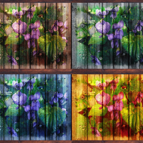 VIOLETS ON WOODEN PLANKS B 4 IN 1