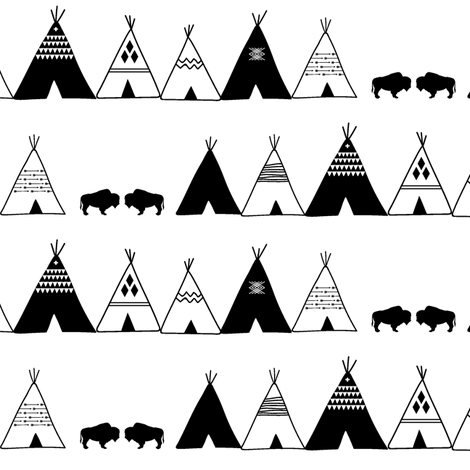 black and white teepee || wild & free fabric by littlearrowdesign on Spoonflower - custom fabric