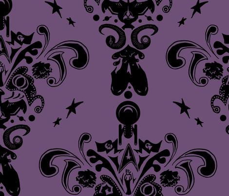 Star Trek damask in purple fabric by sleepymccoy on Spoonflower - custom fabric