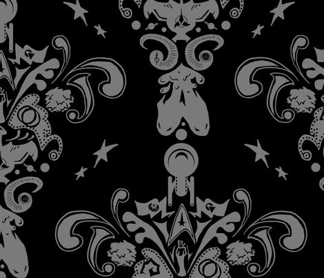 Star Trek damask in black fabric by sleepymccoy on Spoonflower - custom fabric