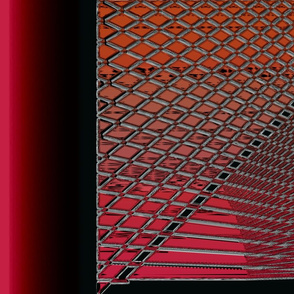 Criss-Cross Mesh Lines Red Orange Light Gray