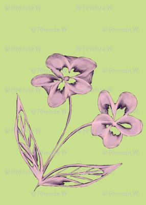 Pansy Garden Pretties on Cool Spring Green - Large Scale