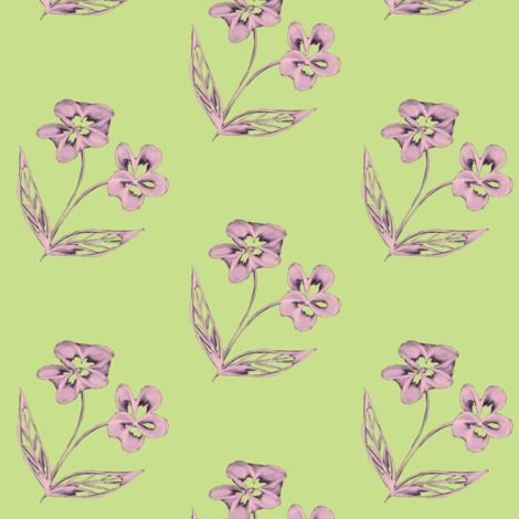 Pansy Garden Pretties on Cool Spring Green - Large Scale fabric by rhondadesigns on Spoonflower - custom fabric