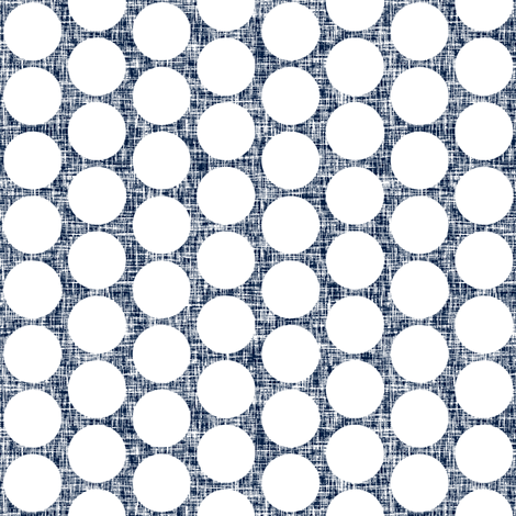 White polka dots on navy + white linen weave by Su_G fabric by su_g on Spoonflower - custom fabric