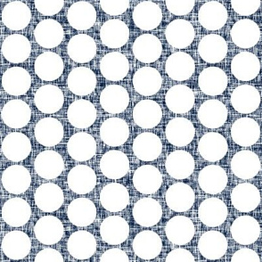 White polka dots on navy + white linen weave by Su_G