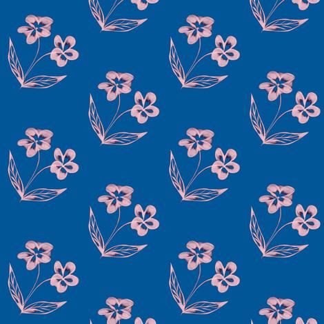 Pansy Garden Pretties on Summer Seas Blue fabric by rhondadesigns on Spoonflower - custom fabric