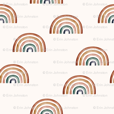 Scattered Rainbows Ecru background || Earth toned watercolour rainbows || Rainbow Baby kids bedding