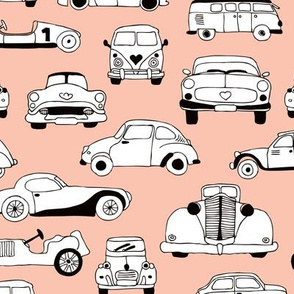 Cool vintage classics cars trendy scandinavian style design retro print for boys and girl peach