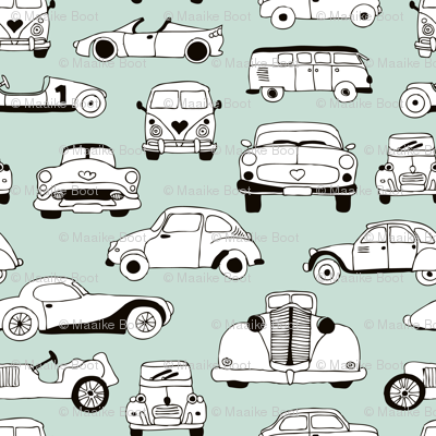 Cool vintage classics cars trendy scandinavian style design retro print for boys and girl mint