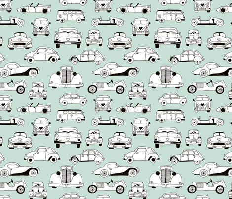 Cool vintage classics cars trendy scandinavian style design retro print for boys and girl mint fabric by littlesmilemakers on Spoonflower - custom fabric