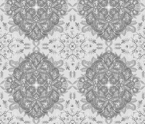Vintage Winter Monochrome Doodle fabric by micklyn on Spoonflower - custom fabric