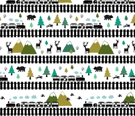 Train tracks in the mountains fabric by heleen_vd_thillart on Spoonflower - custom fabric