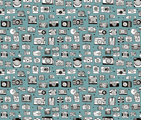 Vintage camera memories cool retro toy camera photagraphy design gender neutral blue fabric by littlesmilemakers on Spoonflower - custom fabric