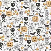 Halloween Doodle with Skulls,Bat,Pumpkin,Spiderweb,Ghost on White