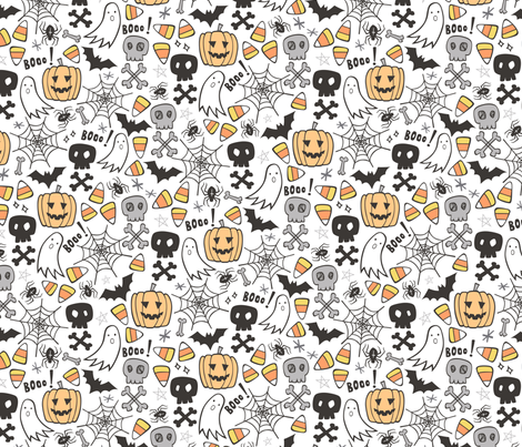 Halloween Doodle with Skulls,Bat,Pumpkin,Spiderweb,Ghost on White fabric by caja_design on Spoonflower - custom fabric