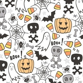 Halloween Doodle with Skulls,Bat,Pumpkin,Spiderweb,Ghost on White