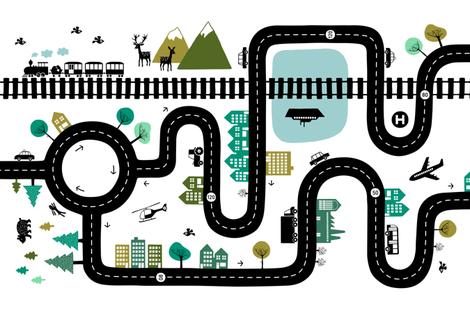 Road map horizontal (yard size) fabric by heleen_vd_thillart on Spoonflower - custom fabric