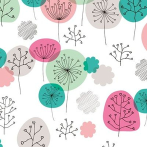 Summer forest garden soft pastels scandinavian plants branches and flower pink green
