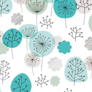 Winter forest garden soft pastels scandinavian plants branches and flower blue mint
