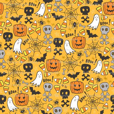 Halloween Doodle with Skulls,Bat,Pumpkin,Spiderweb,Ghost on Yellow Orange