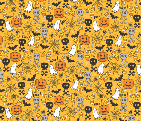 Halloween Doodle with Skulls,Bat,Pumpkin,Spiderweb,Ghost on Yellow Orange fabric by caja_design on Spoonflower - custom fabric