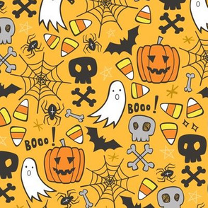 Halloween Doodle with Skulls,Bat,Pumpkin,Spiderweb,Ghost on Yellow Orange