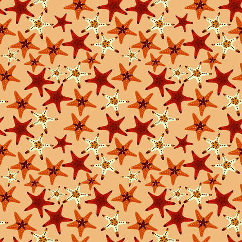 Starfish (dark background) fabric by arts_and_herbs on Spoonflower - custom fabric