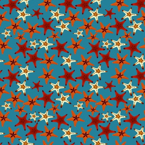 Starfish in the Ocean fabric by arts_and_herbs on Spoonflower - custom fabric