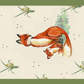 fox in the spring - tea towel