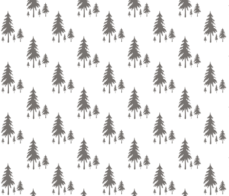 Evergreen Trees Charcoal fabric by sproutz on Spoonflower - custom fabric