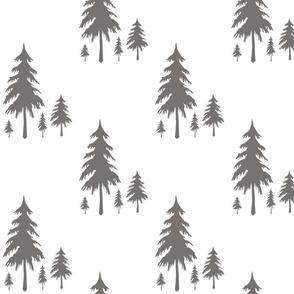 Evergreen Trees Charcoal