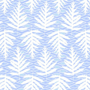 Ferns Over Diamonds Lilac Blue 200