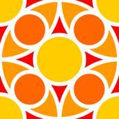 R4X circle mix : yellow orange vermilion red
