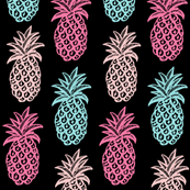 Tropical Pineapples (Pink & blue )