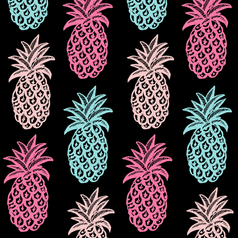 Pineapple (Pink & blue ) tropical fabric by magentarosedesigns on Spoonflower - custom fabric