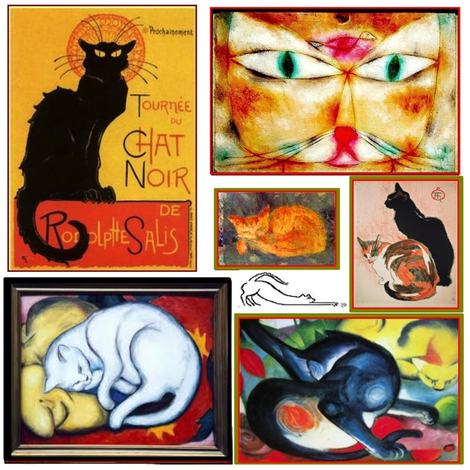 Cats in Famous Art fabric by feralartist on Spoonflower - custom fabric