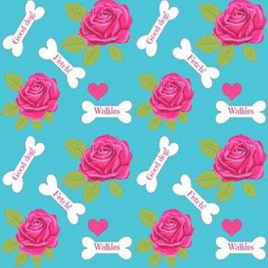 Dog bone pink Rose /Good dog /custom