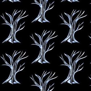 Windswept WinterTrees on Deep Black