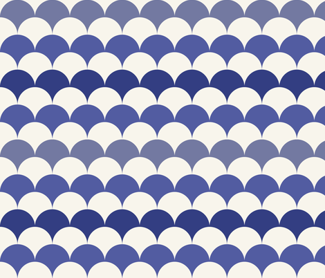 Scallops in Prussian Blue + Off-white by Su_G  fabric by su_g on Spoonflower - custom fabric