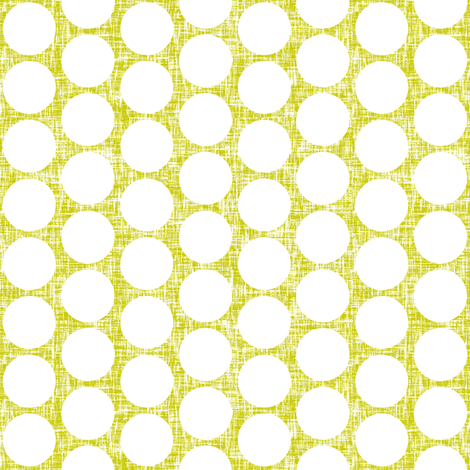 White polka dots on acid yellow linen weave by Su_G fabric by su_g on Spoonflower - custom fabric
