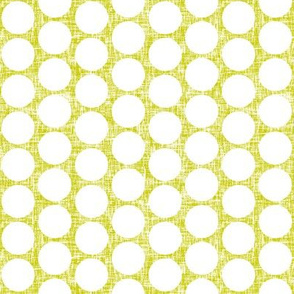 White polka dots on acid yellow linen weave by Su_G