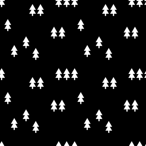 trees (small scale) || black fabric by littlearrowdesign on Spoonflower - custom fabric