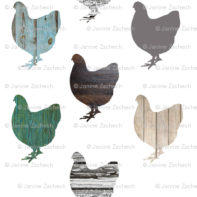 Wooden Chickens Small
