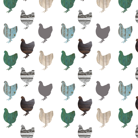 Wooden Chickens Small fabric by janinez on Spoonflower - custom fabric