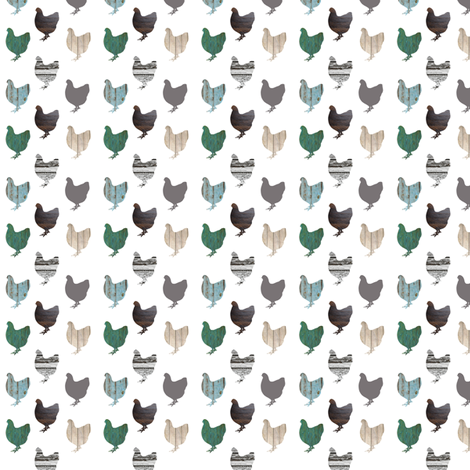 Wooden Chickens Tiny fabric by janinez on Spoonflower - custom fabric