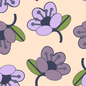 Purple and Lilac Flowers on pink